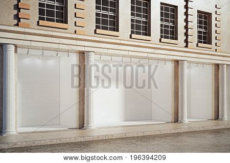 Side view of building with empty showcase and columns. Advertising and boutique retail concept. Mock up 3D Rendering