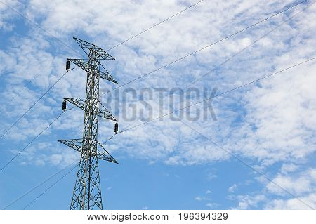 High voltage post High-voltage tower at blue sky and cloud background Power poles and various wiring electric pole