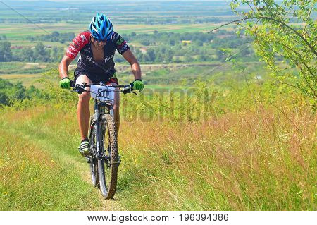 Tapia Romania - June 19 2016: Mountain bike rider during the Concordia Cup cross country competition. Shot taken on June 19th 2016