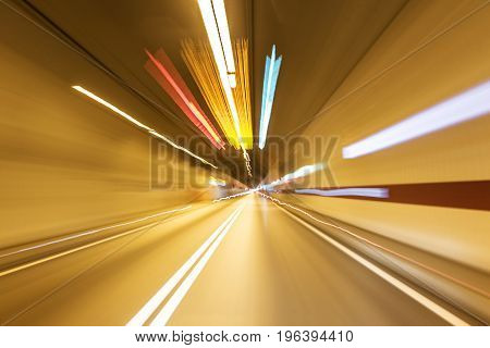 Road in an underground tunnel. Shooted with motion blur.