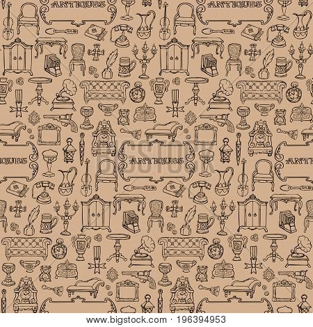 Antiques doodle hand drawn seamless pattern with vintage sign. Wallpaper of retro objects on beige background.