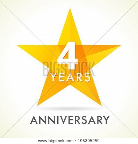 4 years anniversary star logo. 4th years anniversary golden vector sign facet star isolated on white background