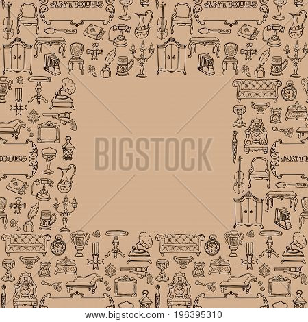 Antiques doodle hand drawn seamless frame with vintage sign. Wallpaper of retro objects on beige background.