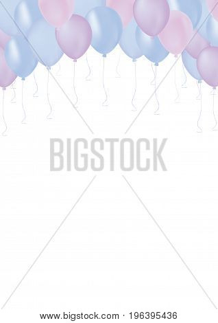 Vertical Isolated pastel color blue and purple celebrate air pastic balloons