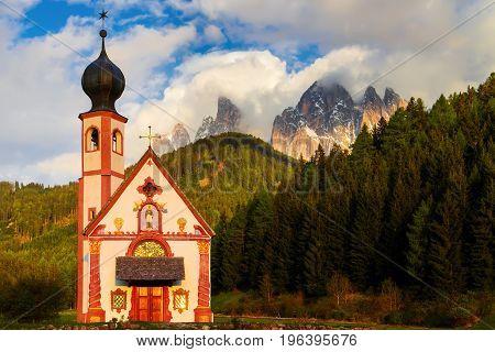 Chiesetta Di San Giovanni In Ranui. Val Di Funes, Italy