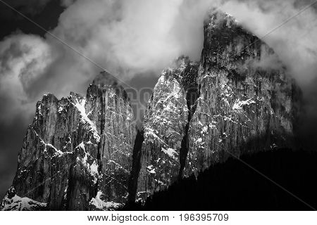 Dolomites Italian Alps At Springtime. Black And White Landscape