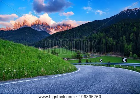 Dolomites Italian Alps At Beautiful Sunset. Val Di Funes, Italy