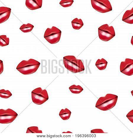 Red lips kisses seamless vector illustration background