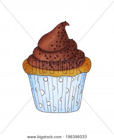 Chocolate Cupcake Isolated On White Background.
