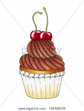 Chocolate Cupcake With Cherries Isolated On White Background.