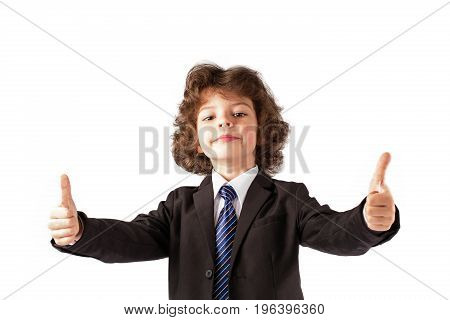 Funny Curly Boy Showing A Gesture With Two Hands,