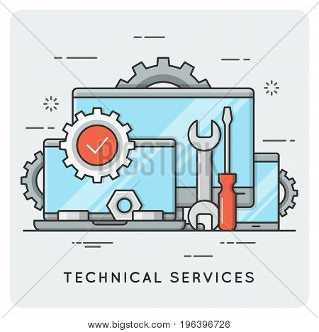Technical services. Thin line concept. Vector illustration