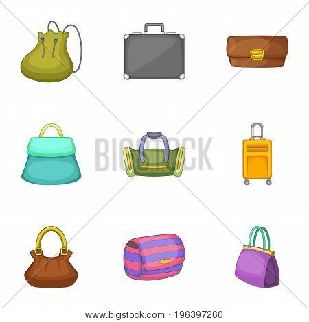 Bags for all occasions icons set. Cartoon set of 9 bags for all occasions vector icons for web isolated on white background