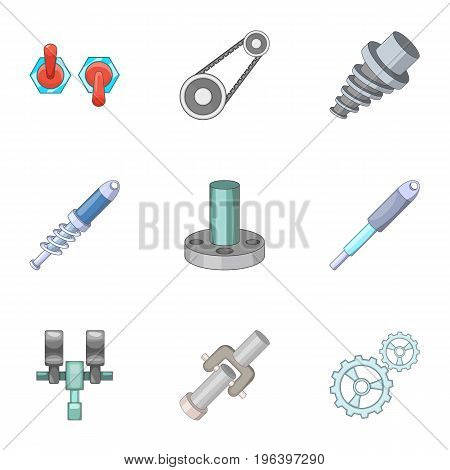 Mechanical and electrical parts icons set. Cartoon set of 9 mechanical and electrical parts vector icons for web isolated on white background