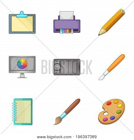 Art tools icons set. Cartoon set of 9 art tools vector icons for web isolated on white background