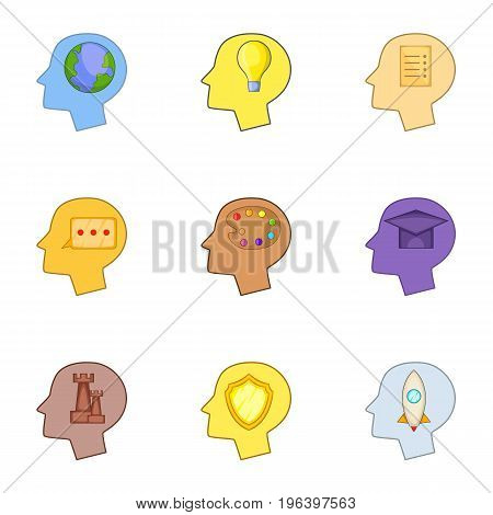 Profile of the head with thoughts about studying icons set. Cartoon set of 9 profile of the head with thoughts about studying vector icons for web isolated on white background