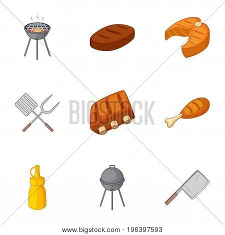 Grilling icons set. Cartoon set of 9 grilling vector icons for web isolated on white background