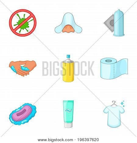 Personal hygiene icons set. Cartoon set of 9 personal hygiene vector icons for web isolated on white background
