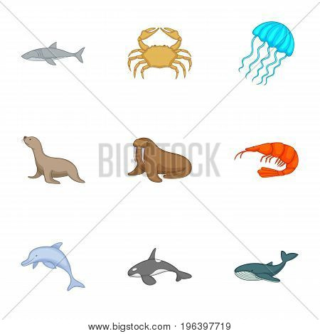 Residents of the north seas icons set. Cartoon set of 9 residents of the north seas vector icons for web isolated on white background