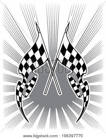 Checkered race flags. Sports Equipment, Black and white