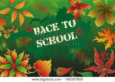Back to school background with realistic blackboard, autumn leaves and text