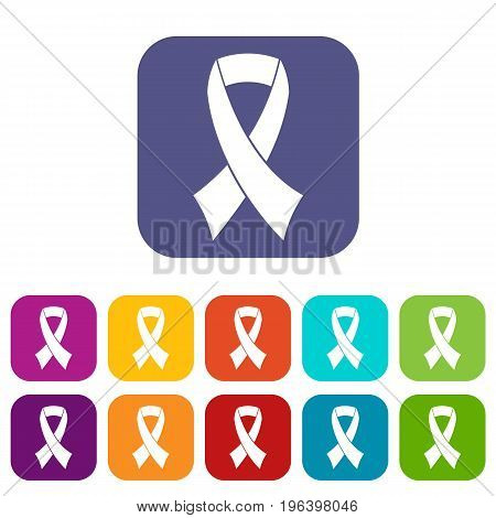 Breast cancer awareness ribbon icons set vector illustration in flat style in colors red, blue, green, and other