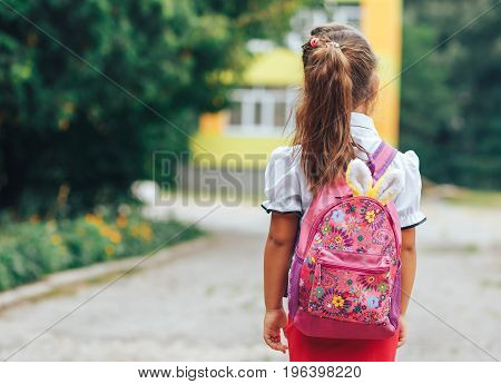 A little girl goes to school with her favorite toy in her backpack. The girl first class