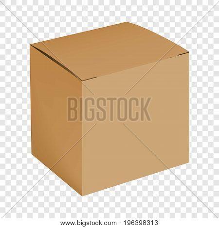 Blank cardboard box mockup. Realistic illustration of blank cardboard box vector mockup for web