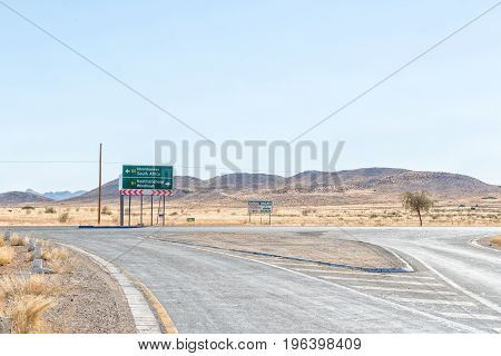 GRUNAU NAMIBIA - JUNE 13 2017: The T-junction of the B1 and B3 roads at Grunau a village in the Karas Region of Namibia