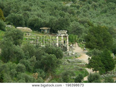 The Sanctuary of Athena Pronaia view from Temple of Apollo, Delphi, Greece