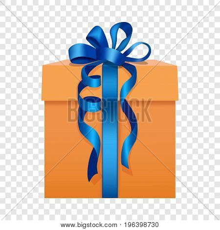 Orange gift box with a blue ribbon icon. Flat illustration of orange gift box with a blue ribbon vector icon for web