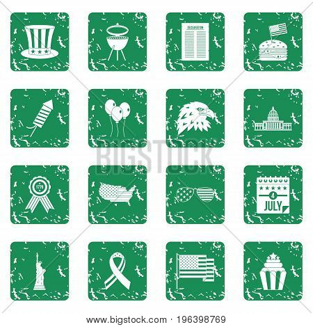 Independence day flag icons set in grunge style green isolated vector illustration