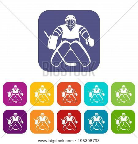 Hockey goalkeeper icons set vector illustration in flat style in colors red, blue, green, and other