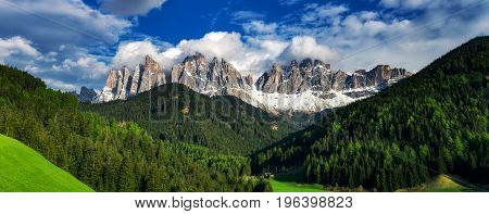 Dolomites Italian Alps at springtime. Beautiful nature landscape