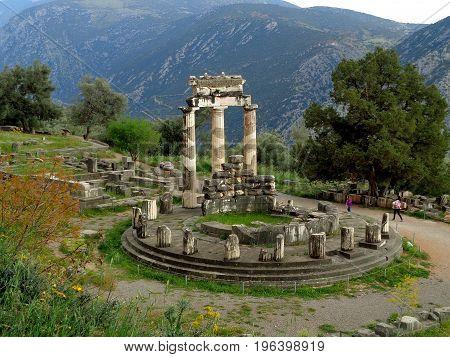 The Picturesque Sanctuary of Athena Pronaia on the Mountainside of Delphi, Greece
