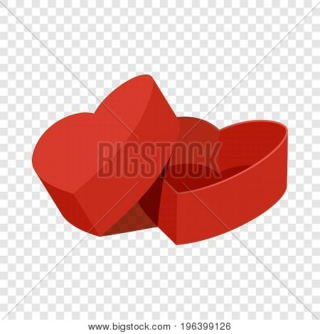 Red heart shaped gift box icon. Flat illustration of red heart shaped gift box vector icon for web