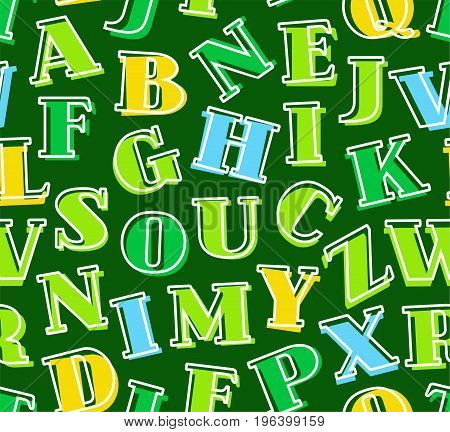 Colored letters of the English alphabet, background, seamless, green, vector. Green, yellow, blue serif letters on a green background. Thin white outline on the letters is offset to the side.