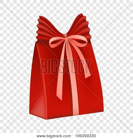 Red gift box icon. Flat illustration of red gift box vector icon for web