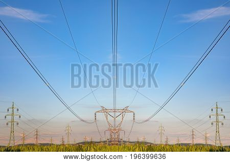 High voltage pylon on skies background Transmission line tower in countryside