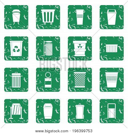 Garbage container icons set in grunge style green isolated vector illustration