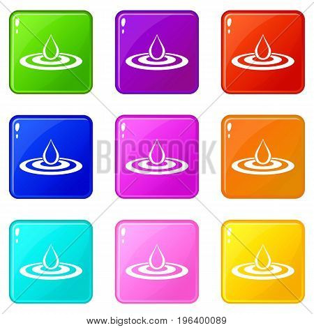 Water drop and spill icons of 9 color set isolated vector illustration