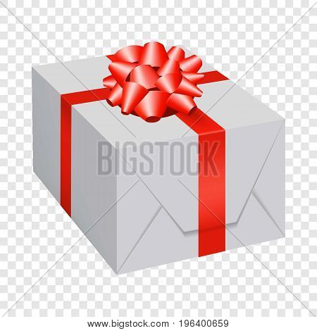 White gift box with red bow icon. Flat illustration of white gift box with red bow vector icon for web
