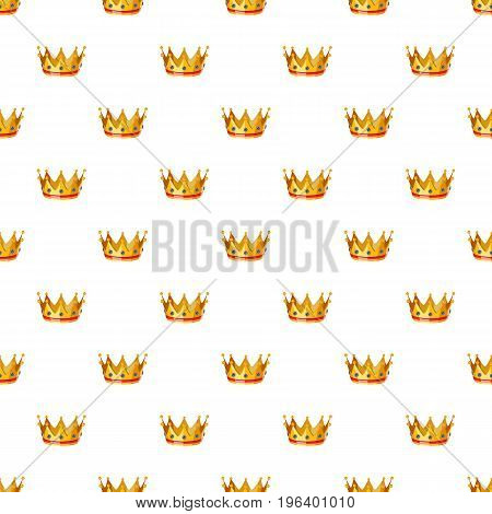 Gold crown pattern seamless repeat in cartoon style vector illustration
