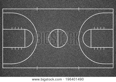 The basketball court top view. Asphalt background