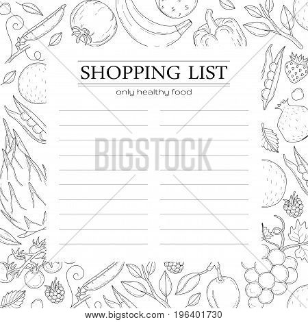 Trendy shopping list template with vegetables. Transparent background.
