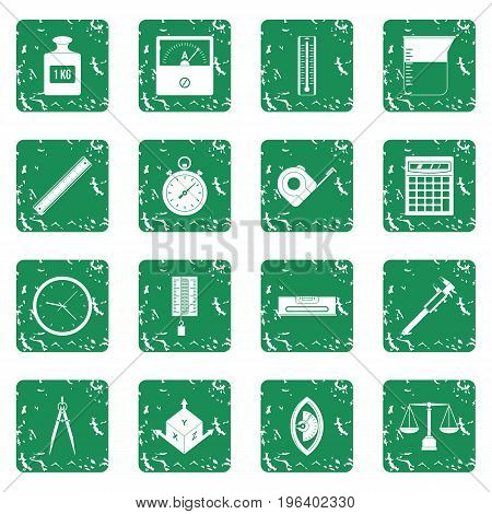 Measure precision icons set in grunge style green isolated vector illustration