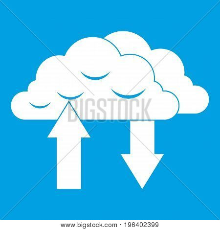 Clouds with arrows icon white isolated on blue background vector illustration