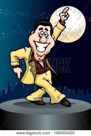 illustration of a energetic dancing businessman on night stage background