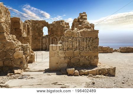 Massada fortress in israel in the desert near the dead sea with Jordan country in the front middle east