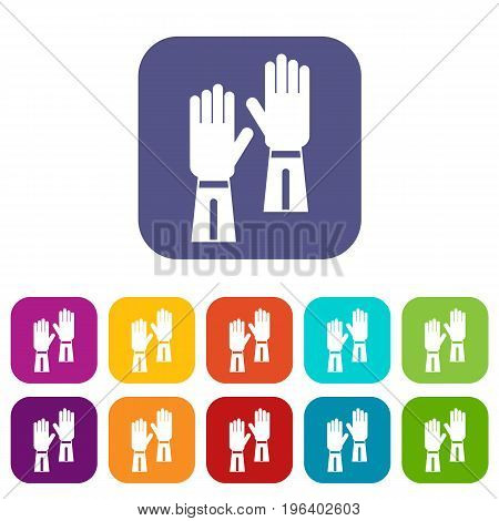 Gloves icons set vector illustration in flat style in colors red, blue, green, and other